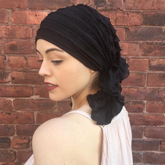 da0e254e78f20 Uptown Girl Headwear Accessories | Pre Tied Slip On Black Ruffle ...